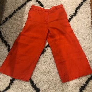 Coral linen wide legged pants by J Crew